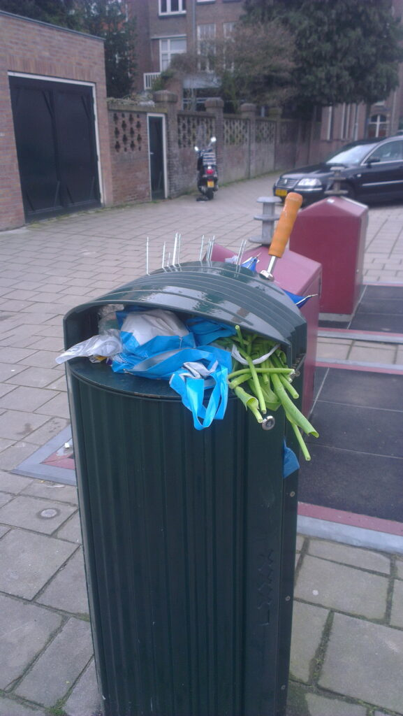 2 binned brollies, very colourful (bright blue red and green). Also some binned tulips to finish it of.